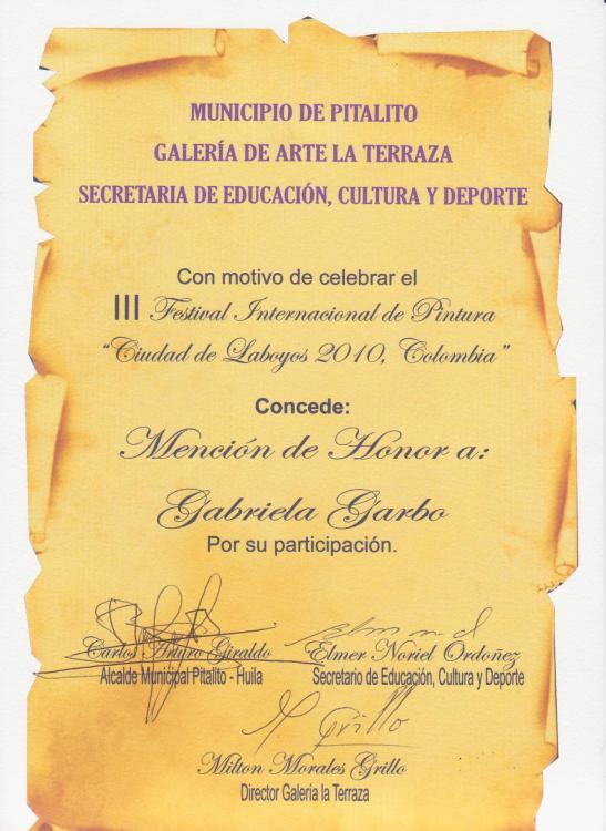 Gabriela garbo Mencion 2010